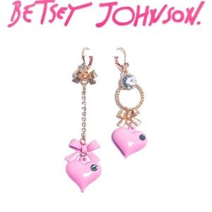 Betsey Johnson Mismatch Bubble Heart Bow Earrings
